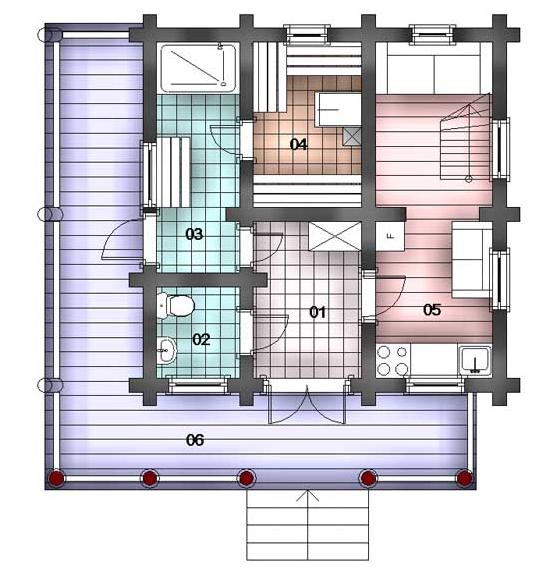 план 1 этажа дома с баней