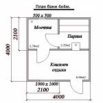 план бани 4х4м