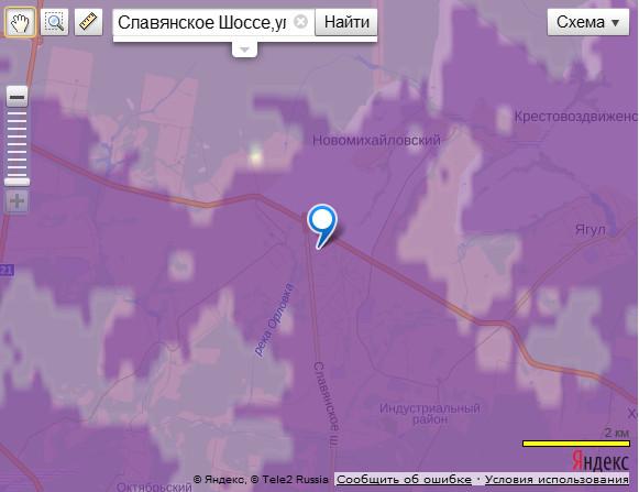Карта покрытия сети 3g Теле2