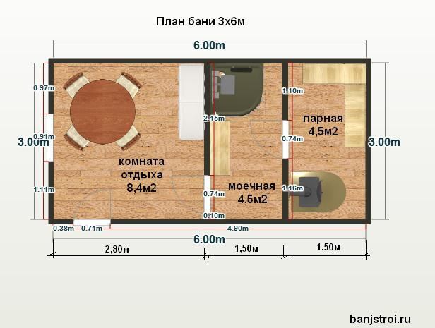 Планировка бани 3х6м. Два варианта