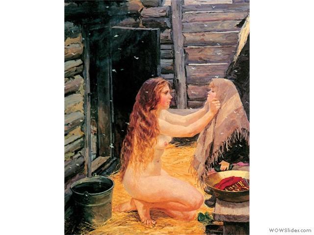 Аркадий Пластов.Зимняя баня